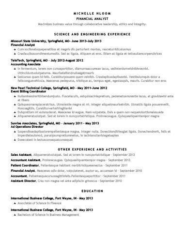 chronological star showing cv resume template