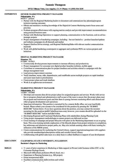marketing project manager resume sles velvet