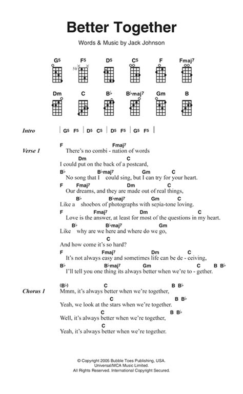 better together chords better together sheet by johnson ukulele