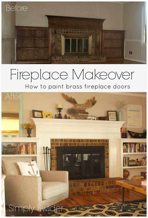 Paint Brass Fireplace Doors by Fireplace Makeover Part 2 Painting Brass Fireplace Doors