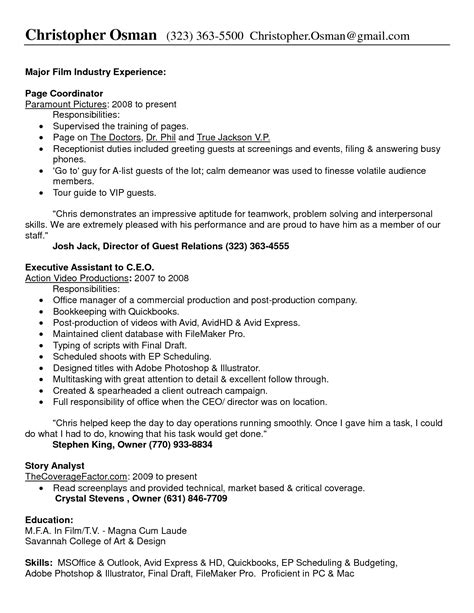 Office Production Assistant Resume Sle Sle Resume Of Receptionist 18 Images 8 Receptionist Description Introduction Letter Sle