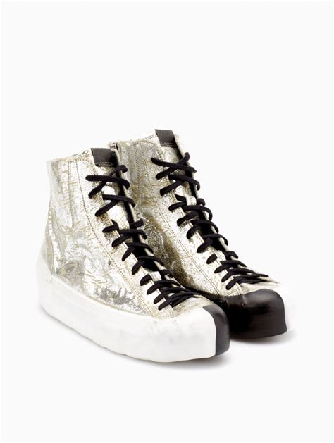 oxs sneakers oxs rubber soul leather sneakers in metallic for lyst