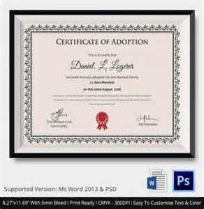certificate template pdf sle adoption certificate template 18 documents in