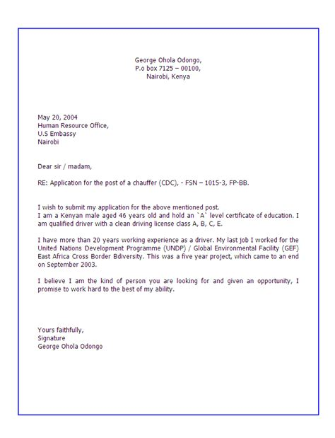 to write a cover letter application letter format for applying a