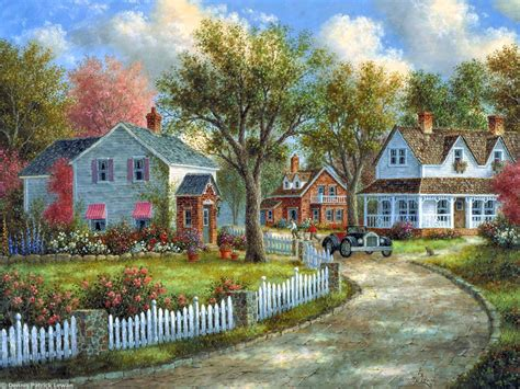 painting of houses dennis lewan 1943 fantasy painter tutt art pittura