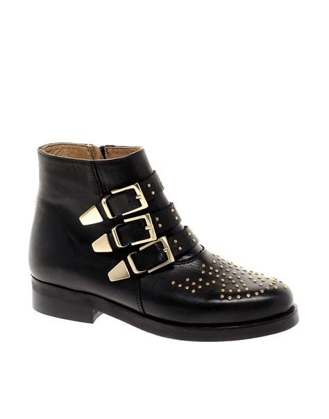 asos asos leather studded biker boots at asos
