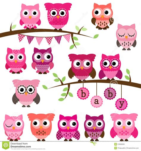 Owl Maxy By Dans vector collection of baby shower themed owls stock