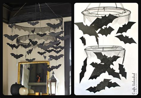 home made halloween decorations diy halloween bat chandelier tutorial crafts unleashed
