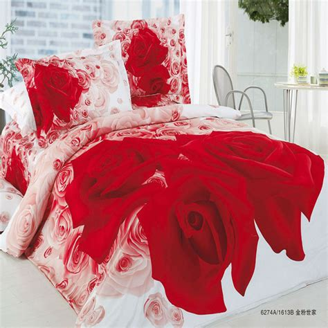 red rose comforter set 3d queen size cotton comforter sets white and red roses