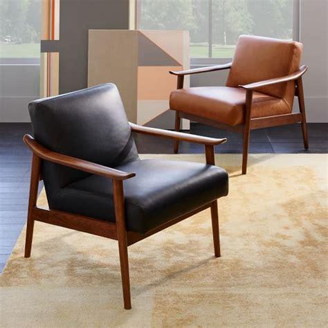 Midcentury Modern Armchair Mid Century Leather Show Wood Chair West Elm