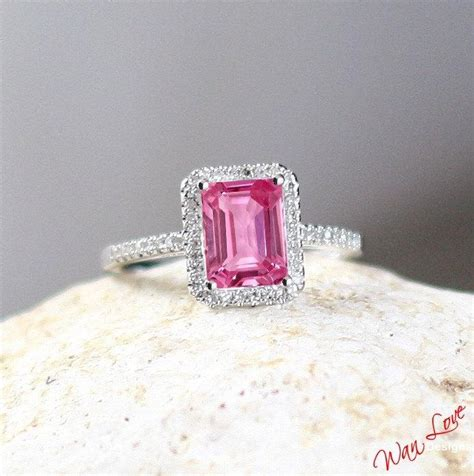 Green Saphire 14 2ct pink sapphire emerald radiant halo engagement