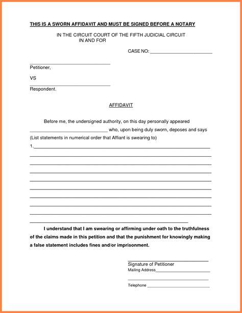 8  free affidavit form   Marital Settlements Information