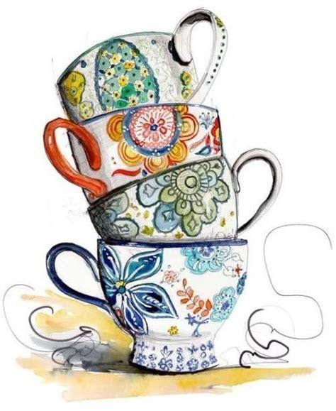 The Patchwork Teahouse - tea cup border clip tea cups illustration