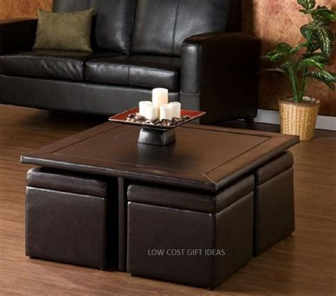Square Coffee Table With Stools Storage Ottoman Seating Square Ottoman Coffee Table With Storage