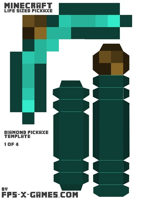 Papercraft Template Maker - minecraft sized pickaxe template 1 of 4
