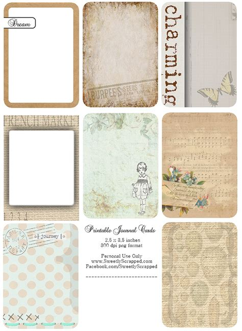 free printable vintage cards free printable journal cards free printable journaling