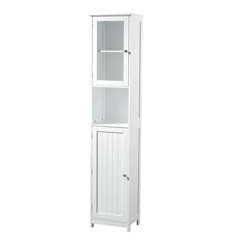 Bathroom White Wood Tall Cabinet Floor Standing Shelf Ebay White Floor Standing Bathroom Cabinet