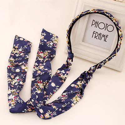 Bando Bowknot Decorated Flower Pattern Design 6 trendy navy blue flower pattern decorated bowknot shape
