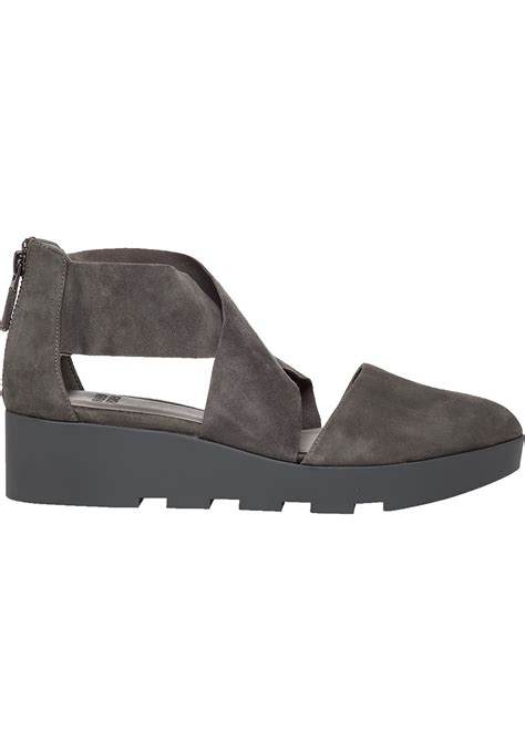 eileen fisher shoes lyst eileen fisher buoy suede flatform sandals in gray