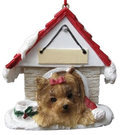 yorkie dog house yorkshire terrier dog house kerst ornament kerstdecoratie leuke hondenartikelen