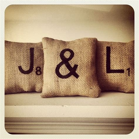 scrabble pillows 6 x6 set of three handmade burlap scrabble tile initial