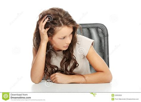 Sad Desk L by Sad Sitting The Desk Royalty Free Stock Image