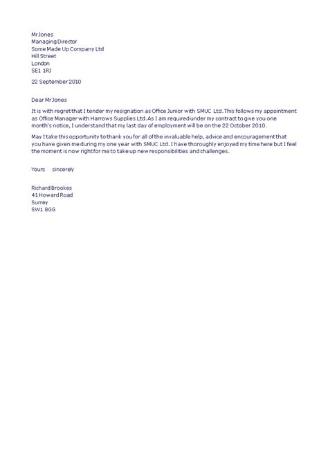 formal resignation letter office junior position