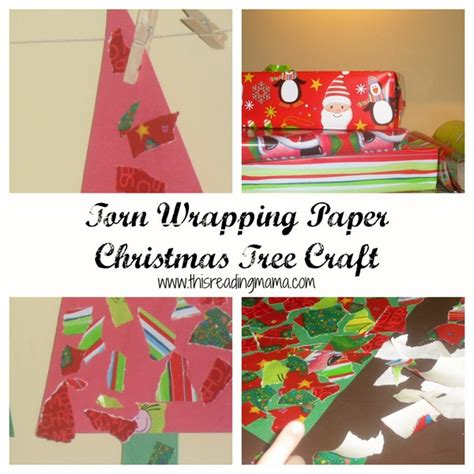 Wrapping Paper Craft - torn wrapping paper trees