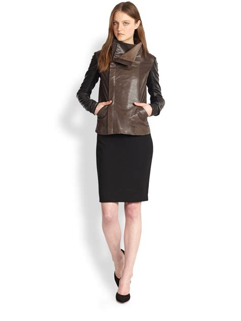 colorblock leather vince colorblock leather jacket in brown espresso black