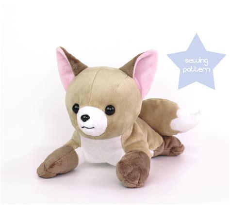 puppy plushie pdf sewing pattern fox stuffed animal laying wolf