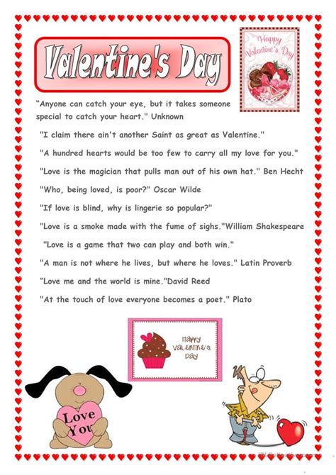 valentines reading comprehension worksheet s sayings worksheet free esl printable