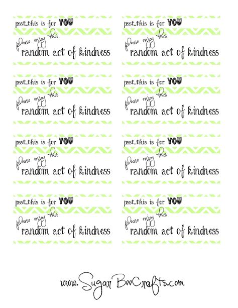 Random Acts Of Kindness Cards Templates roakdiy recap random acts of kindness sugar bee crafts