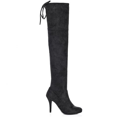 buy binx heeled stretch wide calf knee boots black