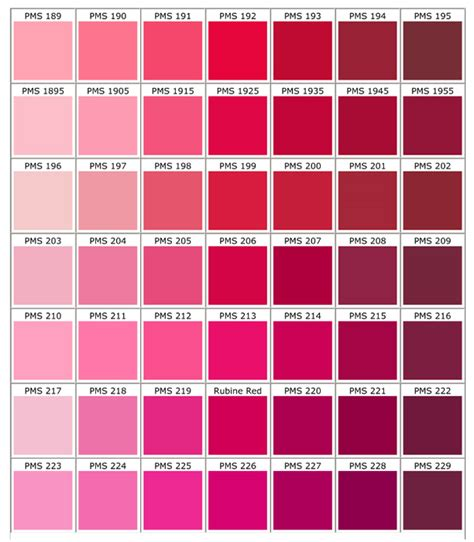 shades of red color palette and chart with color names pink color chart palettes pinterest pink color chart