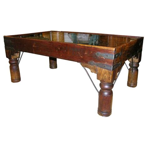 coffee table comprised of a 16th century indian door at