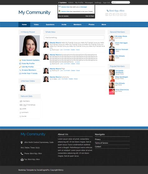 social engine templates bootstrap template 4 6 0 template for socialengine
