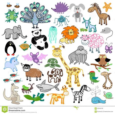 doodle animal drawings children drawing doodle animals stock vector image 60040156