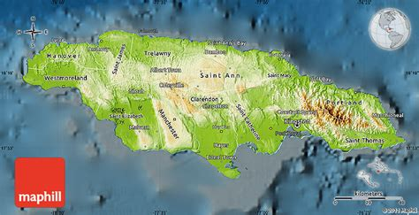 physical map of jamaica physical map of jamaica darken
