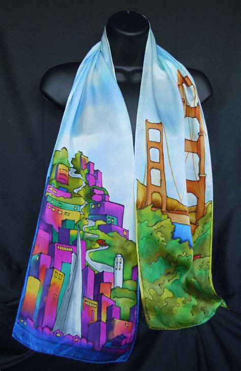 san francisco painted silk scarf