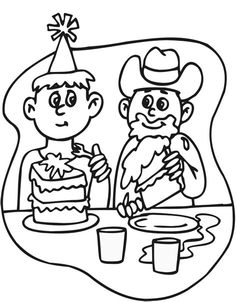 birthday themed coloring pages birthday cake coloring page kids eating cake