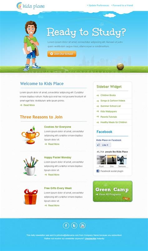 Kids Newsletter Template Free Mail Templates Mail Newsletter Template