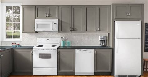 Light Gray Cabinets by Light Gray Kitchen Cabinets With White Appliances