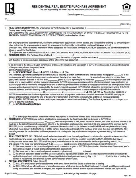 real estate purchase agreement iowa offer to purchase real estate form free