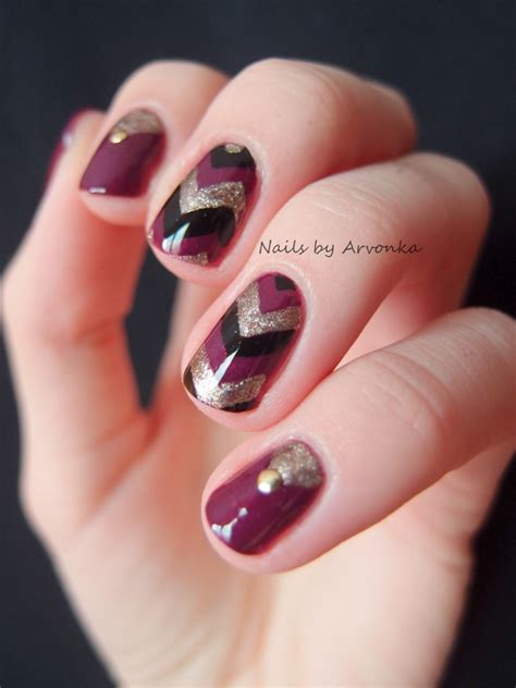 Manik Manik Nail Aksesoris Kuku Nail autumn chevron nails nail by veronika sovcikova