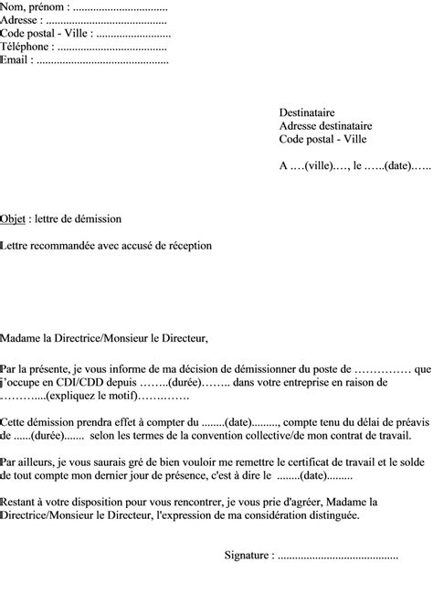 lettre de demission d un cdd application letter