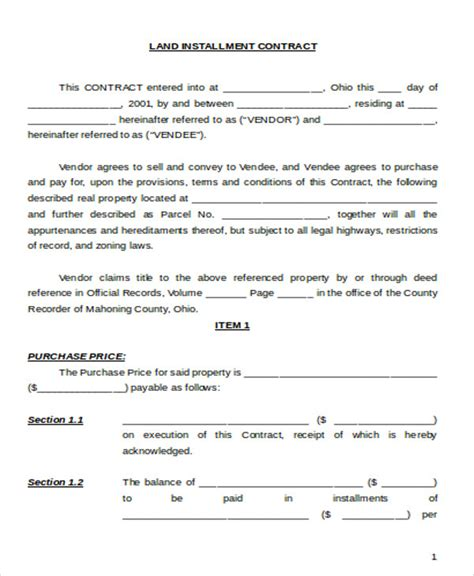 contract for sale of land template sle land sales contract 6 exles in word pdf