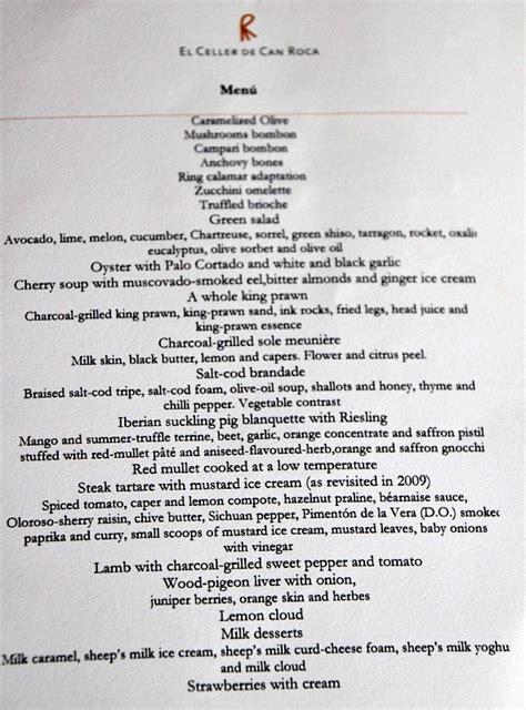 menu at el celler de can roca girona spain world s best restaurant food design and travel