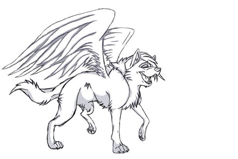 winged wolf coloring page free winged wolf lineart by wolfieluv6 on deviantart