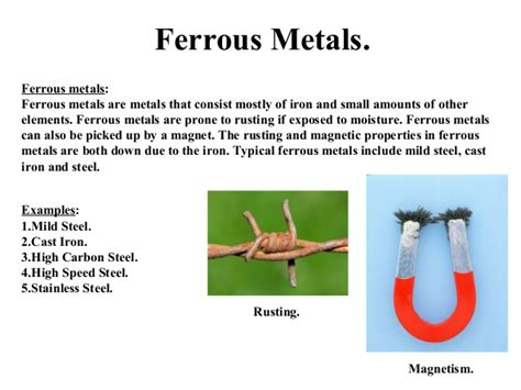 metal strength list metals ferrous and non ferrous