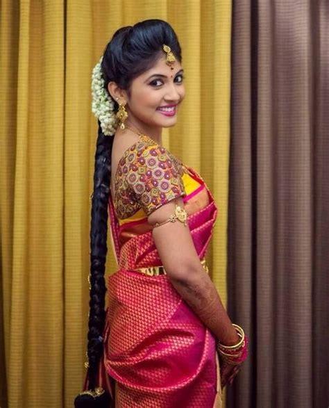 bridal hairstyles for silk saree thread work blouse by aanya silk sarees telugu and saris